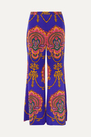 Gucci Printed silk crepe de chine wide-leg pants