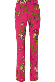 Gucci Floral-print wool-blend flared pants