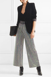 Cropped crystal-embellished stretch-knit wide-leg pants