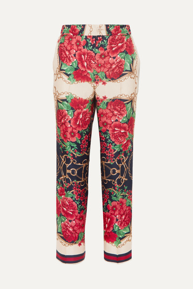 Gucci Pants Cropped printed silk-twill wide-leg pants