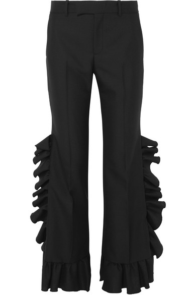 Ladies Black Ruffled Wide High-Rise Wool And Mohair-Blend Trousers