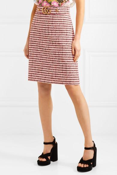 Gucci. Embellished striped tweed skirt b02f0b8924