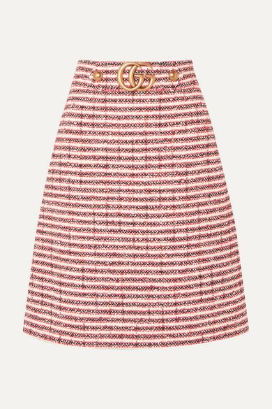 e22b1675 Embellished striped tweed skirt