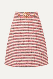 Gucci Embellished striped tweed skirt