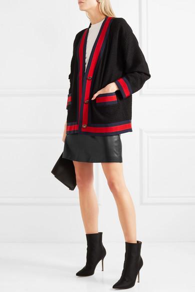 Mit Paypal Zahlen Zu Verkaufen Freies Verschiffen Die Besten Preise Gucci Minirock aus Leder mit Ripsbandbesatz MKRNzfnt