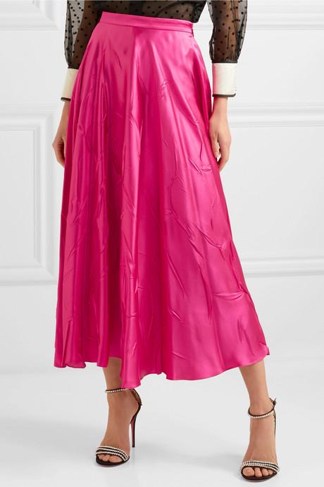 Silk-blend satin midi skirt