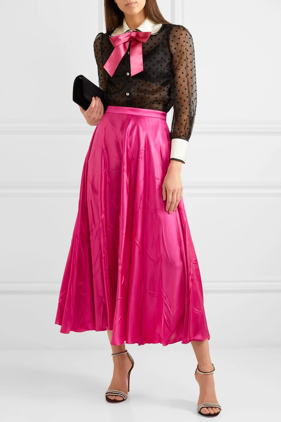 Gucci 真丝混纺缎布中长半身裙