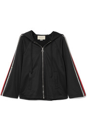Gucci Swarovski crystal-embellished striped tech-jersey hoodie