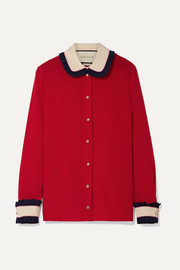 Gucci Color-block ruffled silk blouse