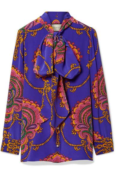Gucci - Treasure Pussy-bow Printed Silk Crepe De Chine Blouse - Purple