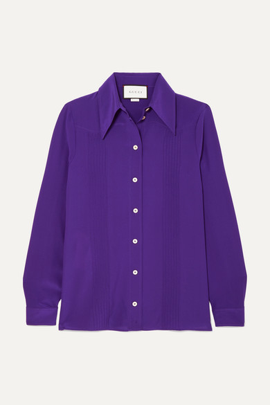 Gucci - Pintucked Silk Crepe De Chine Shirt - Purple