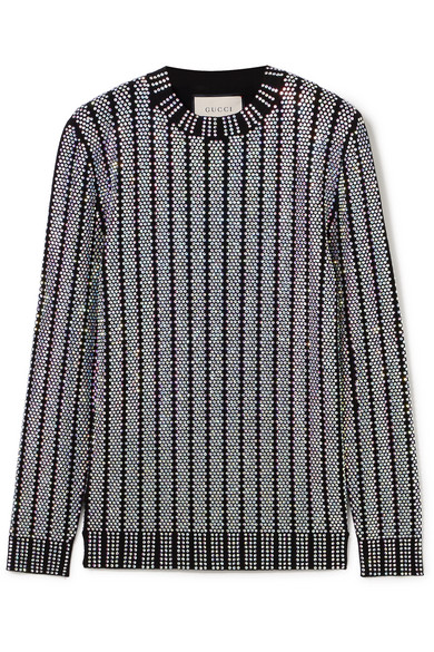4547b5c7c94 Gucci. Crystal-embellished stretch-knit sweater