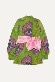 Gucci Bow-embellished printed silk crepe de chine tunic