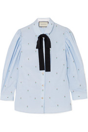 Gucci Grosgrain-trimmed fil coupé cotton shirt