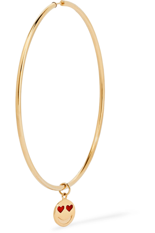 Alison Lou Endless 14-karat gold and enamel hoop earrings