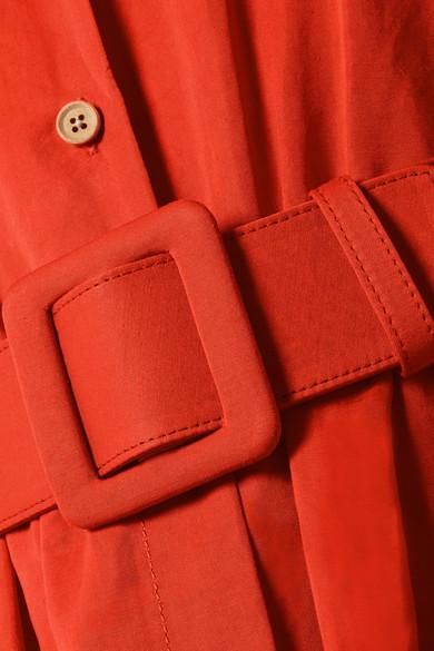Rosie Assoulin Waiting for Godet Maxikleid aus Popeline aus einer Baumwollmischung mit Gürtel