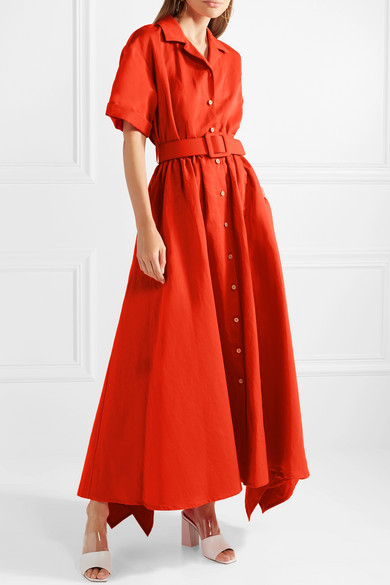 Waiting For Godet Belted Cotton-blend Poplin Maxi Dress - Tomato red Rosie Assoulin Classic Sale Online Buy Cheap Recommend Limited Edition Sale Online Best Store To Get Sale Online Cheap Sale Clearance u5xsS2bJWy