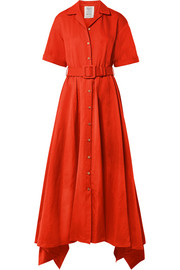 Waiting for Godet belted cotton-blend poplin maxi dress