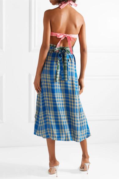 Mit Kreditkarte Zu Verkaufen Günstig Kaufen Neue Rosie Assoulin Midikleid aus kariertem Voile mit Cut-outs Verkaufen Sind Große 100% Ig Garantiert Verkauf Online 5TUHHFAc