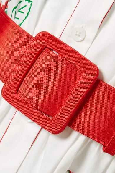 Rosie Assoulin Waiting For Godet Maxikleid aus beschichteter Popeline aus einer Baumwollmischung mit Gürtel