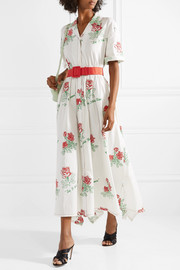 Waiting For Godet belted coated cotton-blend poplin maxi dress