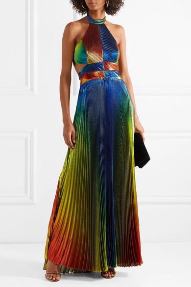 Rosie Assoulin Plissierte Robe aus Lamé aus einer Seidenmischung mit Cut-outs und Neckholder