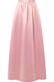 Pleated cotton-blend satin maxi skirt
