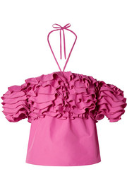 Cha Cha off-the-shoulder ruffled taffeta top