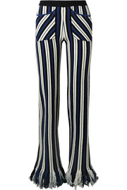 Rosie Assoulin Fringed striped waffle-knit cashmere straight-leg pants