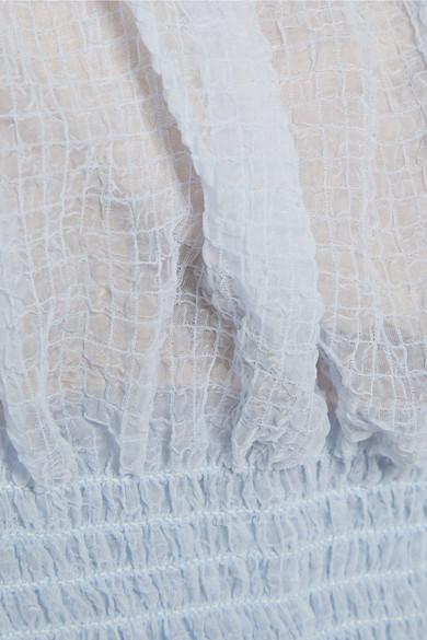 Sandy Liang Ibiza Oberteil aus strukturiertem Chiffon mit Rüschen