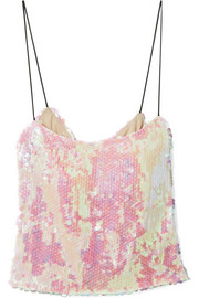 Scales sequined chiffon camisole