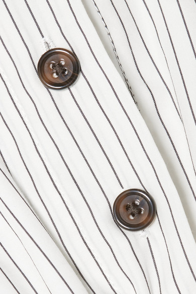 Sandy Liang Marge schulterfreies Midikleid aus Baumwollpopeline mit Nadelstreifen