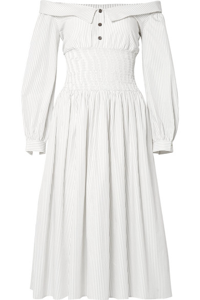 Sandy Liang MARGE OFF-THE-SHOULDER PINSTRIPED COTTON-POPLIN MIDI DRESS