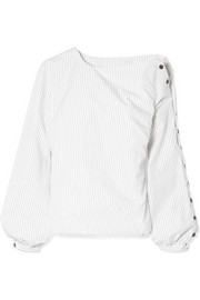 Sandy Liang Meetings one-shoulder pinstriped cotton-poplin top