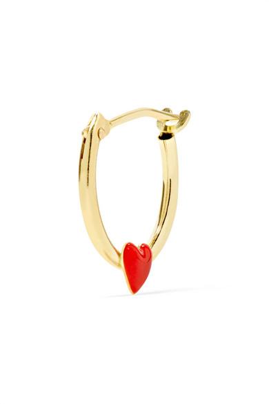 Alison Lou Tiny Heart Enameled 14-karat Gold Earring R841h