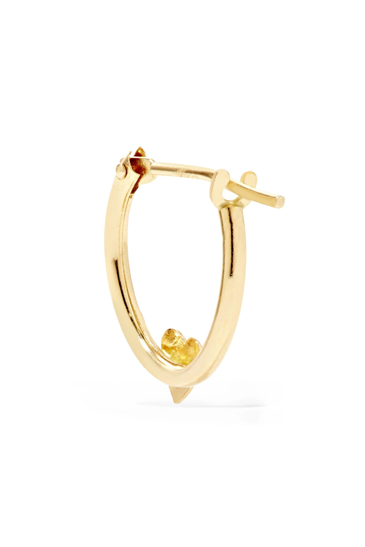 Alison Lou Tiny Heart Huggy enameled 14-karat gold hoop earring
