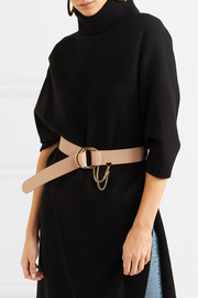 Carly textured-leather waist belt
