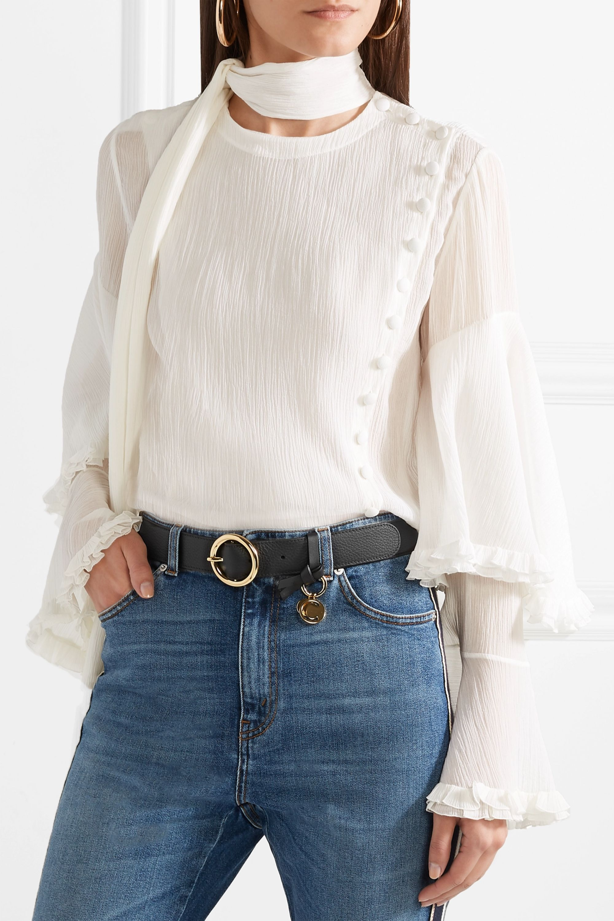 Chloé Textured-leather belt