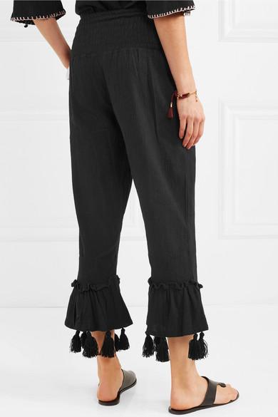 Ebay Grenze Angebot Billig Sensi Studio Verkürzte Hose aus Baumwolle in Knitteroptik mit Troddeln Suchen Sie Nach Verkauf NjgYft4MI