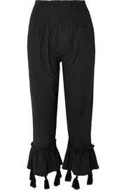 Cropped tasseled crinkled-cotton pants