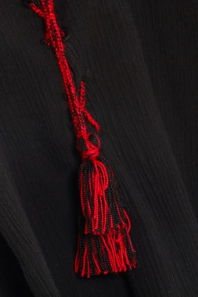 Sensi Studio Besticktes Oberteil aus Baumwolle in Knitteroptik