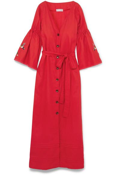 Sensi Studio Embroidered Maxi Dress From A Linen Blend