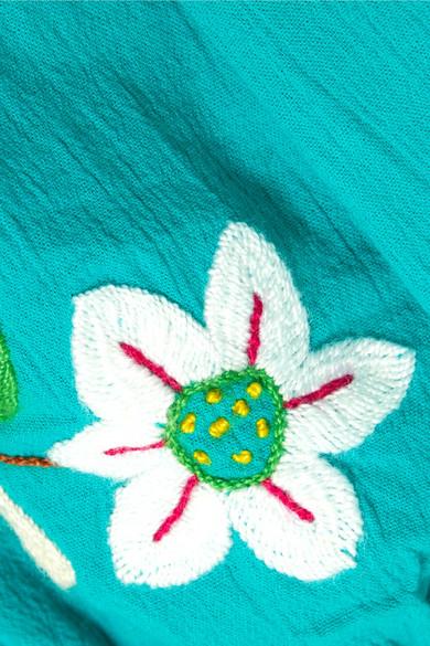 Sensi Studio Schulterfreies Minikleid aus bestickter Baumwolle in Knitteroptik