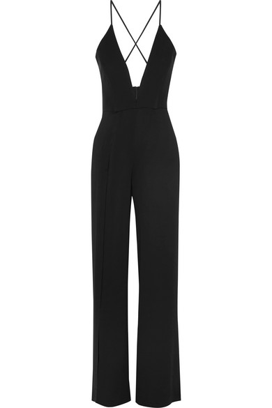 MICHELLE MASON Cady And Jersey Jumpsuit in Black