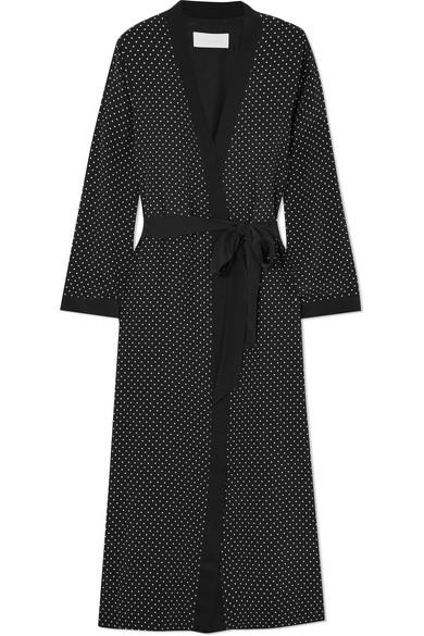 Michelle Mason Morgenmantel aus Crêpe de Chine aus Seide mit Polka-Dots