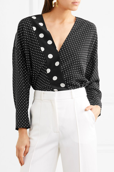 1130e74fcc Wrap-effect polka-dot silk crepe de chine and stretch-jersey bodysuit
