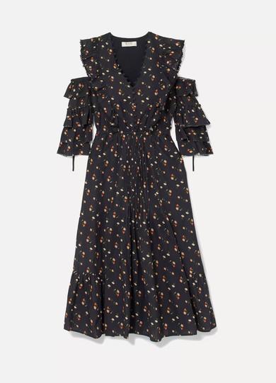 SEA Floral bedrucktes Kleid aus Baumwoll-Schaftgewebe mit Cut-outs