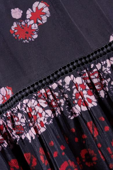 SEA Malaya bedrucktes Kleid aus Voile mit Raffungen