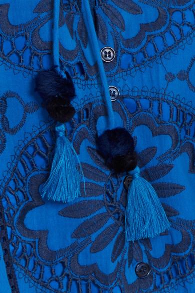 SEA Minikleid aus Baumwoll-Voile mit Lochstickerei und Rüschen