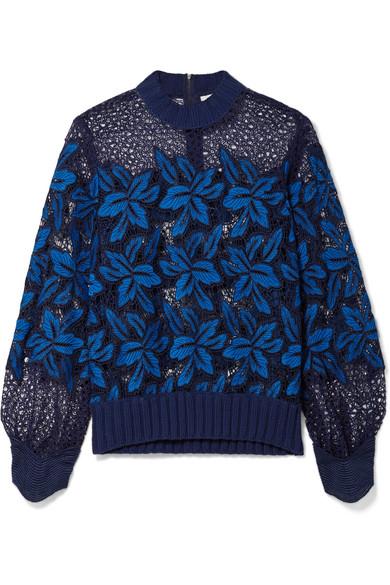 SEA Sweatshirt aus Guipure-Spitze mit gerippten Besätzen aus Baumwolle